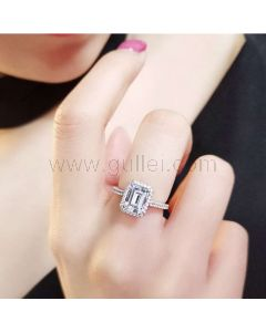 1.92 Carats Emerald Cut Diamond Engagement Ring for Her