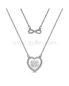 Infinity Heart Monogram Necklace Gift for Her