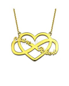 Infinity Heart 2 Names Necklace Gift for Women