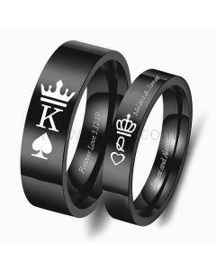 Crown Engraved Promise Rings for Him and Her