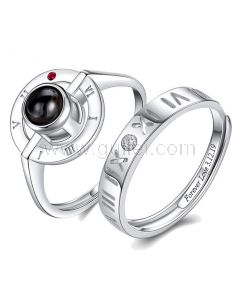 Light Projection Couple Promise Rings Set for 2