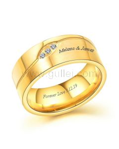 Wedding Band for Men with Names Engraved 8.5mm