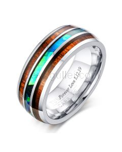 Personalized Tungsten Mens Engagement Ring 8mm