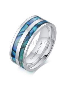 Engraved Simple Mens Ring Anniversary Gift 8mm