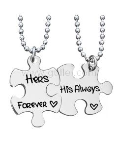 Her Forever His Always Promise Couple Necklaces