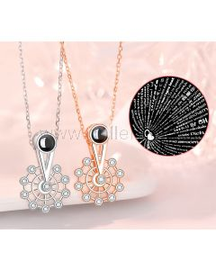 Light Projection Love Necklaces Gift for Couple