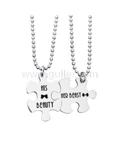 His Beauty Her Beast Puzzle Necklaces Birthday Gift