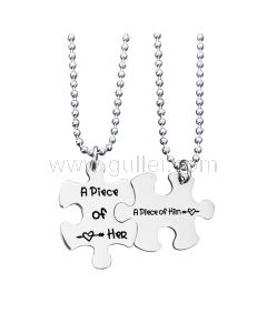 A Piece of Her and Him Couple Necklaces Gift
