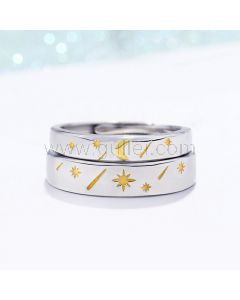 Sun and Moon Couple Rings Set for 2