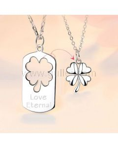 Personalized Eternal Love Flower Couples Necklaces Set for 2