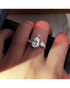 Pear Cut Synthetic Diamond Celebrity Engagement Ring