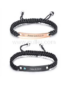 Matching Couple Bracelets with Name Birthday Gift