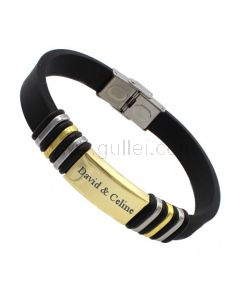 Engravable Mens Bracelet Silicone Stainless Steel