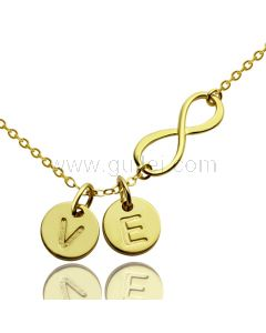 Initials Pendant Infinity Necklace Gift for Girlfriend
