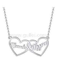 Heart 2 Names Necklace Anniversary Gift for Her