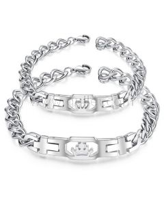 King and Queen Crown Couple Bracelets Birthday Gift