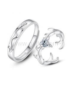 Matching Sterling Silver Wedding Bands Set for 2