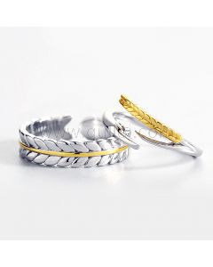 Adjustable Silver Promise Rings for Men and Women