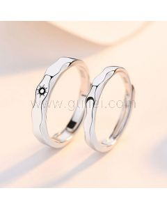 Sun and Moon Engraved Engagement Rings Set for 2