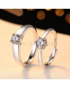 Customized Sterling Silver Wedding Rings Set