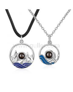 Sea and Mountain Light Projection Couple Necklaces