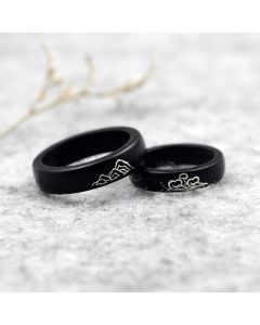 Mountain and Ocean Wooden Rings Set