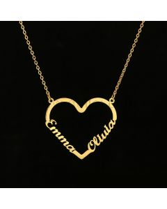 Two Names Heart Pendant Necklace