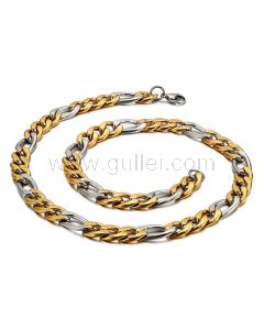 Mens Figaro Chain Gold Plated Stainless Steel