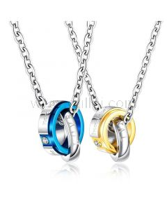 Double Rings Necklaces Gift for Him and Her