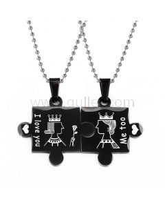 Personalized Puzzle King Queen Lovers Necklaces