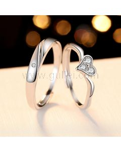 Customized Couples Promise Rings Set Sterling Silver