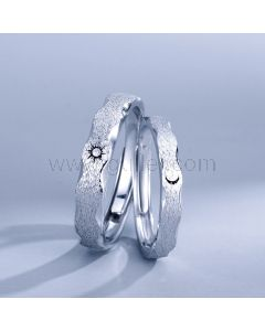 Sun and Moon Sterling Silver Couple Rings Set