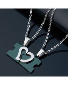 Name Engraved 2 Hearts Puzzle Pendants For Him and Her