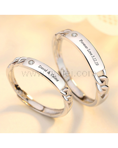 Custom Sterling Silver Promise Rings for Couples (Adjustable Size)