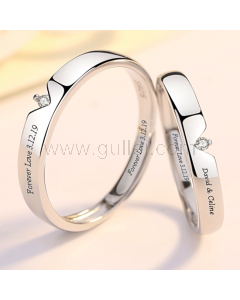 Matching Couple Promise Rings Sterling Silver (Adjustable Size)