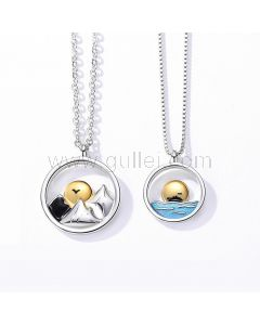 Mountains and Sea Promise Necklaces for Couple
