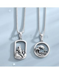 Mountain Waves Necklace Promise Gift for Couple