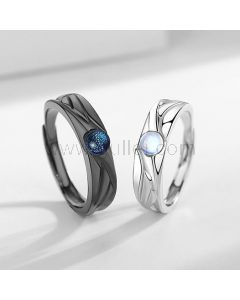 Matching Engraved Couple Rings Gift Set (Adjustable Size)