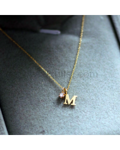 Letter M Name Initial Necklace 18K Gold Plated