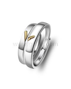 Heart Shaped Couple Wedding Bands Set for 2