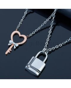 Engraved Lock and Key Couples Jewelry Gift Set for 2