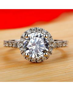 1.5 Carat Halo Diamond Engagement Ring for Her