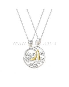 Sun and Moon Couple Relationship Necklaces Set