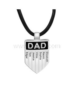 Family Names Engraved Necklace for Dad