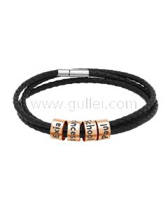 Mens Leather Bracelet with Name Charms