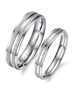 Engraved Titanium Ring Bands for Him and Her Set of 2