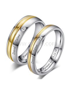 Engraved Couple Titanium Promise Rings Set for 2