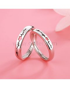 Engraved Heartbeat Couple Promise Rings Set