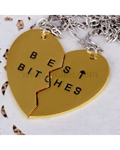 Best Bitches Heart BFF Necklace Set for 2