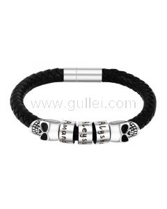 Personalized Charms Mens Leather Bracelet